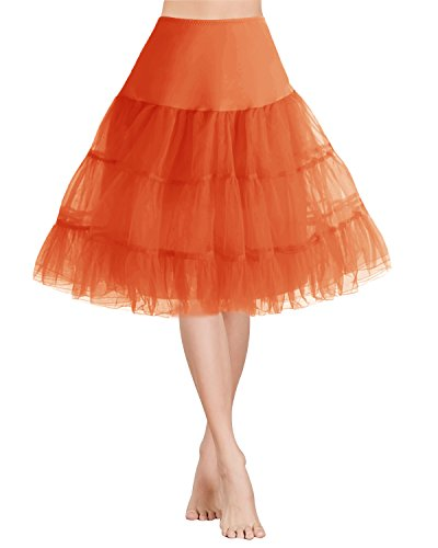 Gardenwed Tütü Damen Rock Weihnachten Partykleid 1950 Petticoat Vintage Retro Reifrock Unterrock Orange S -