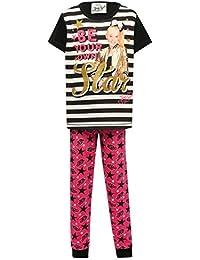 M&Co JoJo Siwa Character Girls Short Sleeve Slogan Print Stripe Tshirt Star Print Cuff Trouser Pyjama Set