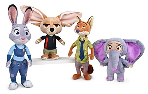 """Zootopia - Pack set 4 plush toy quality super soft - Judy the police rabbit 7""""/19cm + Nick the fox 8""""/22cm + Finnick the small fox 6""""/17cm + Finnick the elephant fox 6""""/17cm"""