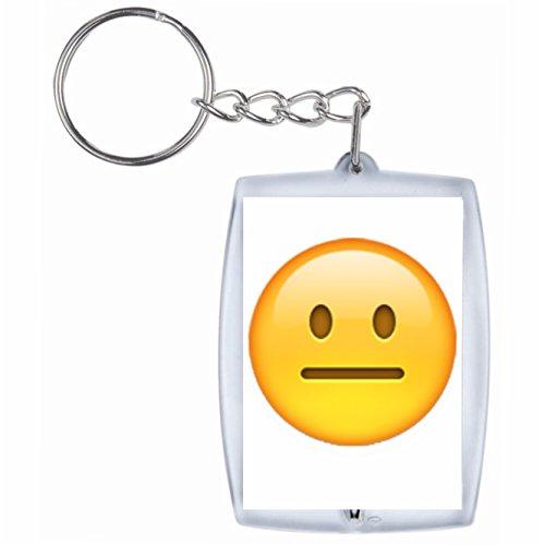 Druckerlebnis24 Schlüsselanhänger Neutrales Gesicht Rucksackanhänger, Taschenanhänger, Keyring, Emoji, Smiley, Exklusiv