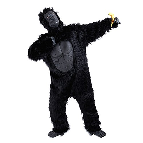 Charm Rainbow Deluxe Affen Kostüm Erwachsene Schwarz Gorilla Kostüm für Party, Fasching, Halloween, Schimpanse Ganzkörperanzug mit Maske Händen und Füßen 2 Gr. Standard and - Assassine Kostüm Muster