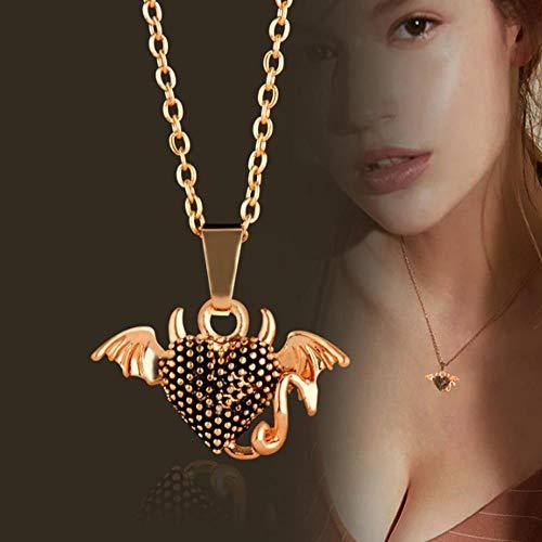 Stilvolle Teufel Kostüm - BSDN01 Teufel Herz Anhänger Halskette Weibliche Kostüm Dekoration Geschenk Ornament