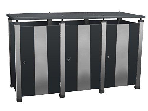 Mülltonnenverkleidung Metall, Modell Pacco E Quad17 für drei 240 ltr. Tonnen