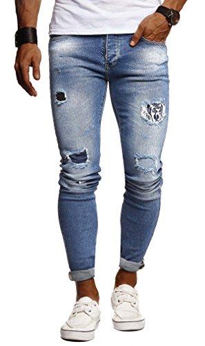LEIF NELSON Herren Hose Jeans Stretch Jeanshose Chino Cargo Hose Jogger Freizeithose Denim Slim Fit LN9280; W29L32, Blau | 04251510261467
