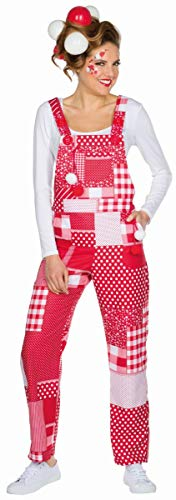 Mottoland Damen Kostüm Patchwork Latzhose rot-weiß Karneval Fasching Gr.M