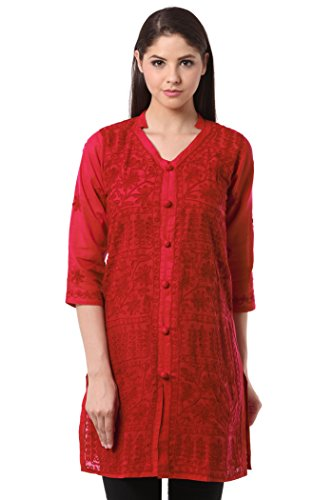 Saadgi Lucknowi Chikankari Handcrafted and Machine Aari Chikan Embroidered Pure Cotton Straight...