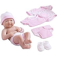 JC Toys - Muñeco bebé recién nacido, con set de 8 accesorios, 36 cm (18543_A)