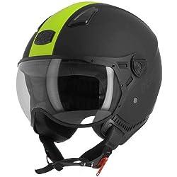 Astone casco jet ksr-2talla negro mate, talla L, amarillo