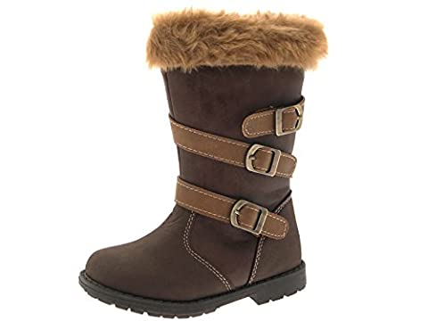Kids Girls Faux Leather Suede Fur Cuff Ankle Mid Calf Boots 3 Straps Buckles Childrens Shoes Brown Size