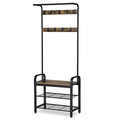 SONGMICS Hat and Coat Stand Rustic Style 72 x 33.7 x 183 cm (W x D x H) Entryway Storage Shelf with 9 Removable Hooks Matte Black HSR40B