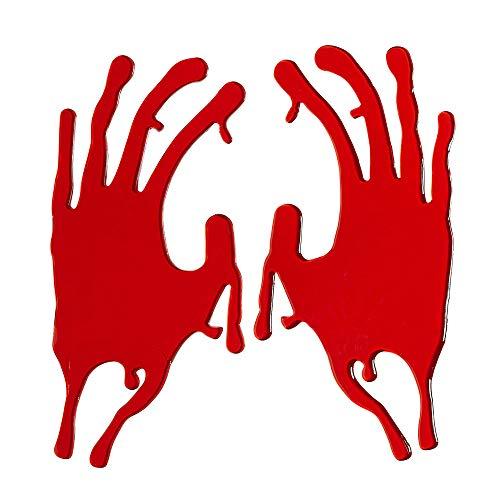 Armee Themen Party Kostüm - WIDMANN 11705 Fensterbilder blutverschmierte Hände, Unisex- Erwachsene, Rot, 20 cm