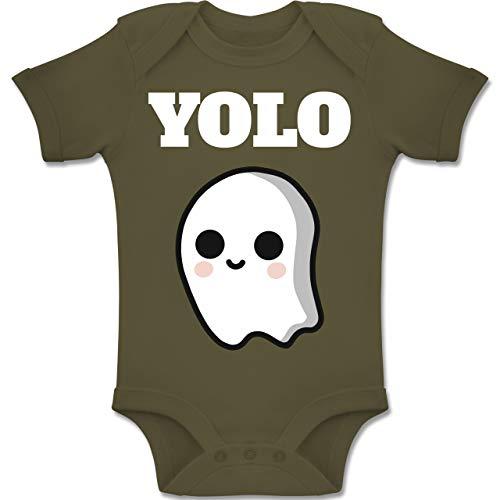 Shirtracer Anlässe Baby - Geist YOLO Motiv - 1-3 Monate - Olivgrün - BZ10 - Baby Body Kurzarm Jungen - Costume Halloween Un Faire