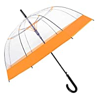 Transparent Stick Umbrella Women Girls - Windproof Clear Dome Bubble Brolly with Coloured Edge - Long Nice Resistant in Fiberglass - PFC Free - Automatic Opening - Diam 89 cm - Perletti