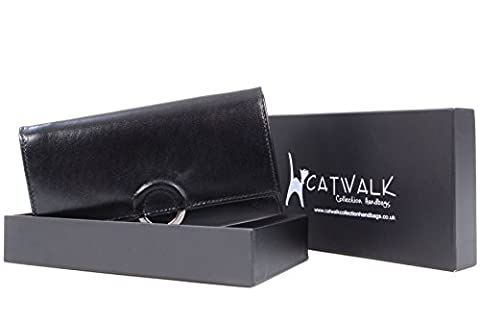 Catwalk Collection Leather Purse - Odette - Black