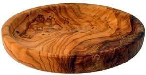 Dessous de verre et petit plateau en bois d'olivier Ø 12 cm, Mastro Leonardo-Fabriqué en Italie