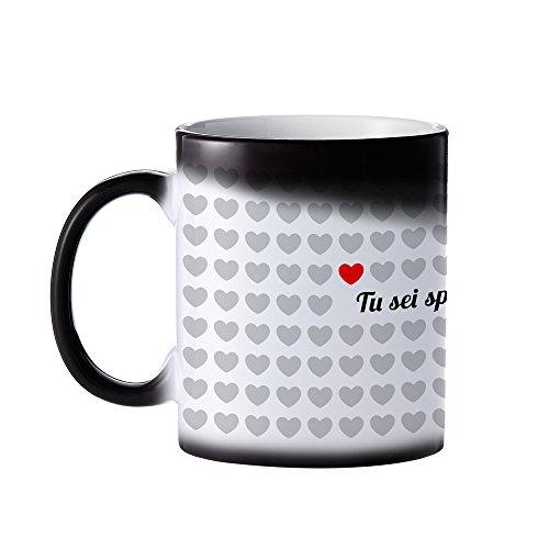 Tazza magica in ceramica - 1000 cuori - tu sei speciale per me - cambia colore con il calore - tazza da tè con rivestimento termosensibile nero - regalo romantico per san valentino - regali per lei