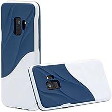 Cover Samsung S9 silicone morbido TPU Hard Bumper PC Onda dell'acqua Doppio strato custodia protettiva di JOYTAG(Bianco+Blu)