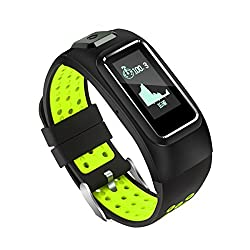 Diggro Db-10Smart Bracelet - Waterproof, Heart Rate Monitor, Built-in Gps, Androidios Smart Wristband Sport Mode (Walking, Running, Cycling, Climbing) Health Monitor, Alarm, Notifications, Noir + Vert