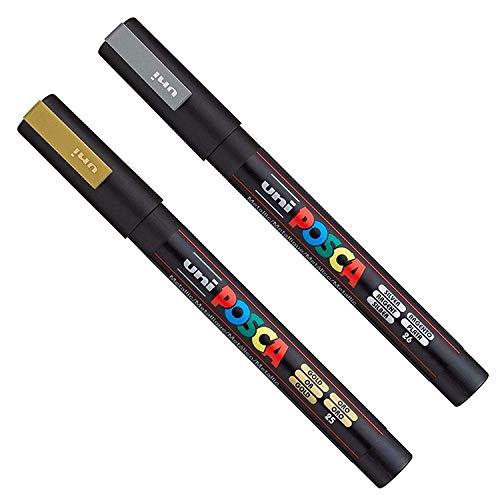POSCA PC-3M Art Marker-Stifte - Stoff: Glas, Metall-Stift – Set von weiß, gold und silber (je 1) -