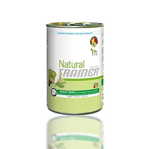 TRAINER Natural adult maxi manzo riso e ginseng umido cane gr. 400