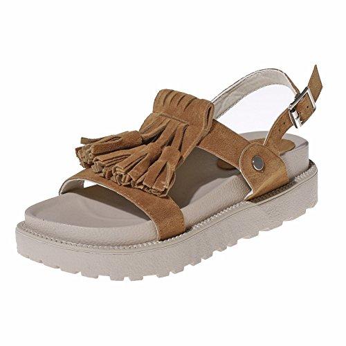 Zicac Damen Flache Sandalen Offene Quasten Metall Gürtelschnalle Sandalen Sommer Casual Schuhe Braun