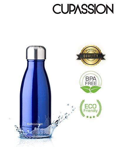 CUPASSION Evi Atlantic Blue Metallic - Edelstahl Vakuum Isolierflasche 260ml | Trinkflasche Wasserflasche | hält Getränke 18h heiß & 24h kalt | Thermosflasche & Thermoskanne |