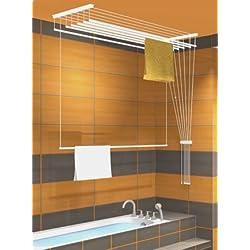 séchoir à linge suspendu au plafond ETEND'MIEUX® 5 barres 49 cm x 120 cm, capacité d'étendage 6m
