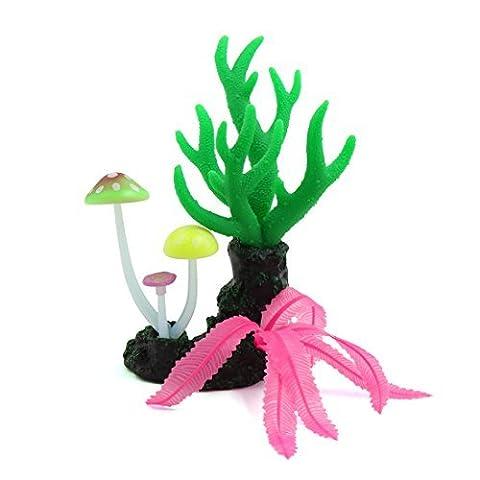 DealMux Glowing-Effekt Artificial Thick Coral Pflanze-Pilz-Fisch-Behälter-Dekor-Baum
