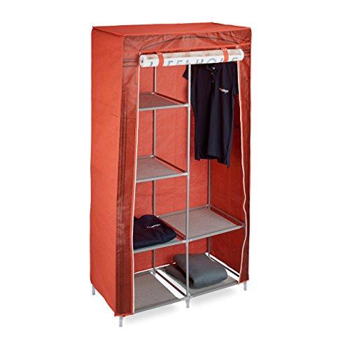 Relaxdays Faltschrank Telefonzelle HBT 161 x 83,5 x 42,5cm Kleiderschrank aus Stoff mit 6 Ablagen...