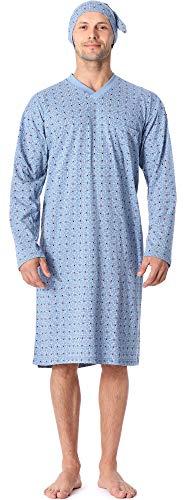 8dd4ebef33 Timone Herren Nachthemd mit Schlafmütze TIDR5001 (Blau Kariert2, XXL)