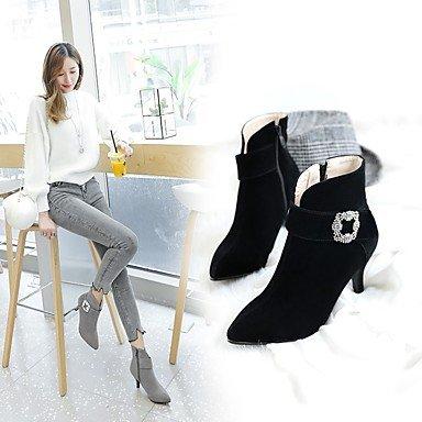 GLL&xuezi Da donna Stivaletti Comoda Innovativo Stivali Stivaletti alla caviglia Suole leggere Scarpe formali Autunno InvernoPelle nubuck Materiali gray