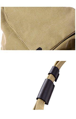 Butterme Sacchetto di spalla del messaggero casuale della tela di canapa del messaggero semplice delle donne degli uomini (Blu) Cachi