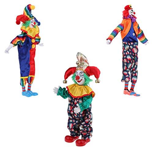 T TOOYFUL 3 Stück Vintage Clown Kostüm Porzellanpuppe Spielzeug Halloween Weihnachten Dekoration