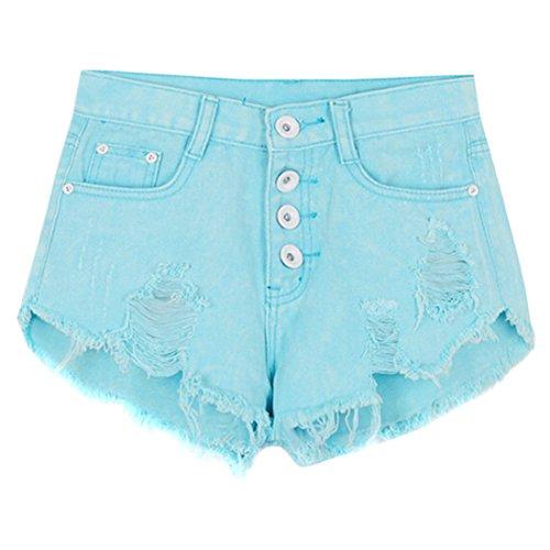 Des Femmes Des Trous Jeans Taille Haute Retro Deckle Shorts De Pointe Chaude Pantalons S / M / L / Xl Bleu Ciel