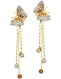 Yellow Chimes Butterfly Charm by Yellow Chimes Gold Plated and Cubic Zirconia Drop Earrings for Women (Golden)(YCFJER-230BTRFLYSTRNGS-GL)