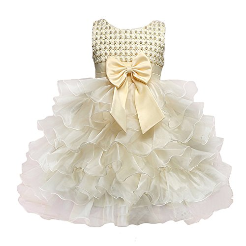 Juleya Toddler Mädchen Fancy Princess Tutu Kleider Bow Party Wedding Kleider Yellow 90CM