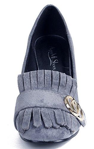Boucle Chaussures Shoes Suède Talon AgeeMi Femmes Escarpins Bloc Gris wOUnXq6