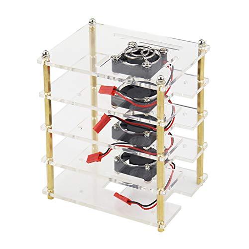 Shiwaki 4 Schichten Acryl Case Stapelbar Case Cluster Case mit Kühlventilator, Offenes Design für Raspberry Pi 3b +, 3b, 2b, 2b +, High Performance - Design-stapelbar