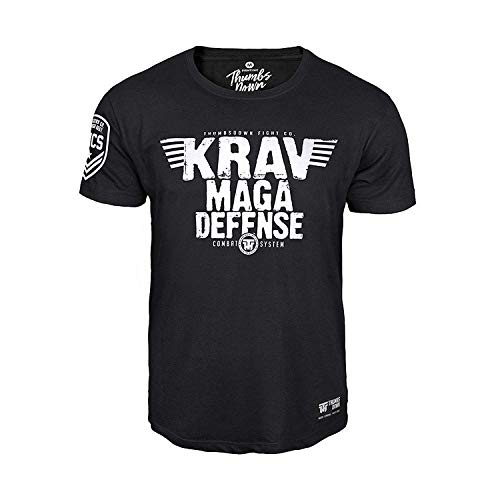Thumbs Down Krav MAGA Defense T-Shirt. Combat System. MMA. Kampfkünste. Gym. Training. Martial Arts. Casual (Größe Small) (Maga T-shirt Krav Herren)
