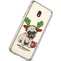 Handytasche Samsung Galaxy J7 2017 Weihnachten Silikon Hülle Crystal Clear Durchsichtige Hülle Ultradünn Transparent Handyhüllen TPU Bumper Case Cover,Hund