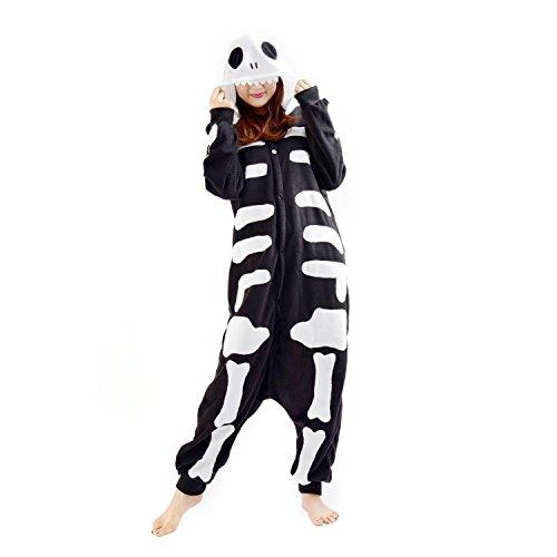 CuteOn Kigurumi Scheletro, Costumi di Carnevale Adulti, Pigiama Tuta Animali Large