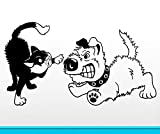 yaoxingfu Gato peleando con el Perro calcomanías de Pared FUUNY Etiqueta de la Pared para Mascotas Shop Kitty & Puppy Wall Art Mural decoración del hogar   42x77 cm