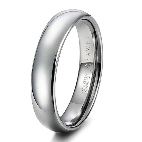 Anillo Hombre/Mujer en Plata, 5 mm, Ajuste Cómodo, Banda de Anillo para Asociación Matrimonial, Tamaño22