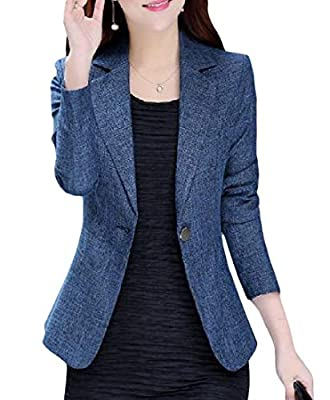 VaeJY Womens Coat One Button Suit Formal Work Classic-fit Blazer Jackets