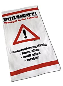 "Global Labels G 99 400 RL2 100 ""Vorsicht Teenager"" Strandtuch, Velours, 75 x 150 cm"