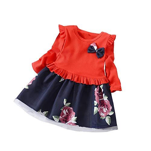 Sonnena Rundhals Babykleidung Langarm Neugeborenes Mode Bogen Kleid Baby Kinderbekleidung Herbst Mini Prinzessin Outwear Kinder Kleidung Sommer Blumen Festkleid