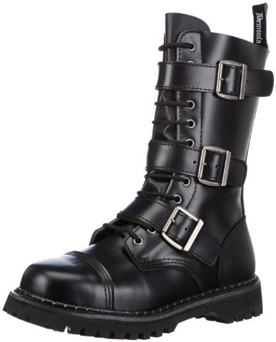 Demonia Riot-12, Stivali Combat Uomo Nero (Blk Leather)
