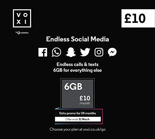 Vodafone VOXI SIM Card with Endless Social Media, Calls, Texts and Roaming