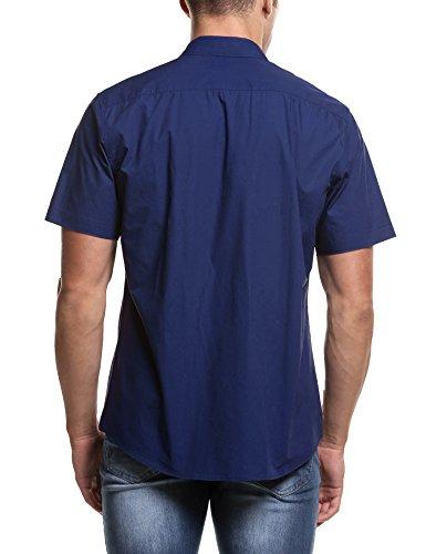 Coofandy Chemise à Manches Courtes pour Homme Occasionnels Bouton Casual Contraste Bleu Marine