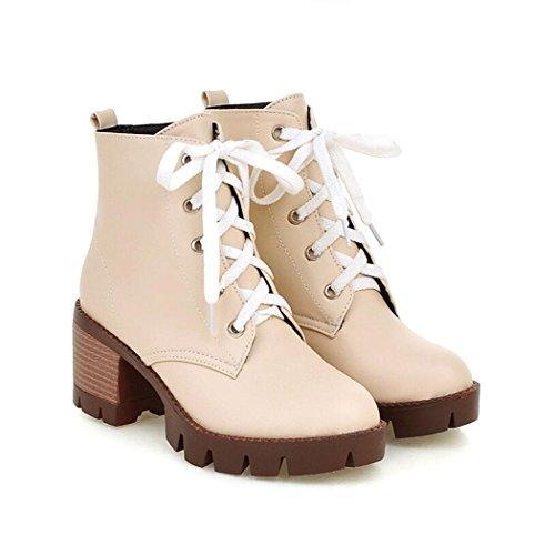 ZQ@QXAutunno Inverno testa rotonda impermeabile dello spessore di Taiwan con scarpe con i tacchi alti e fascette versatili studente Martin stivali, breve e stivali nude Beige